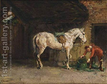 Preparing For A Ride by Cornelis Schermer - Reproduction Oil Painting