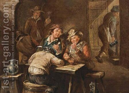 A Tavern Interior With Figures Smoking by Jan Ernst De Groot - Reproduction Oil Painting