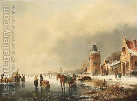 A Winterlandscape With Skaters On The Ice by Hester Zaalberg - Reproduction Oil Painting