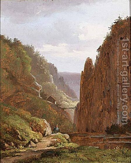 Travellers In A Mountainous Landscape by Arnoldus Johannes Eymer - Reproduction Oil Painting
