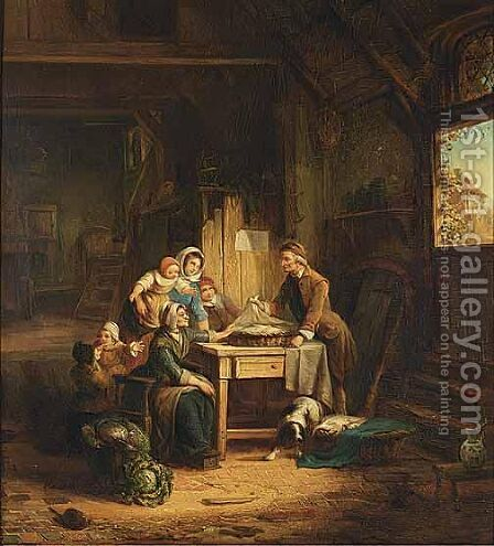Selling Fish by Dutch School - Reproduction Oil Painting