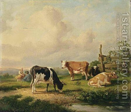 Cows In A Landscape by Hendrikus van den Sande Bakhuyzen - Reproduction Oil Painting