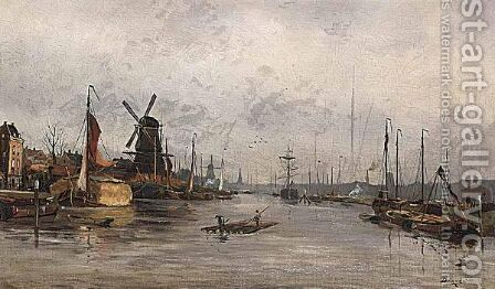 Moored Boats, Rotterdam by Anton Dirckx - Reproduction Oil Painting