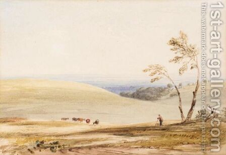 Scene On The Downs Near Goodwood, Sussex by Anthony Vandyke Copley Fielding - Reproduction Oil Painting