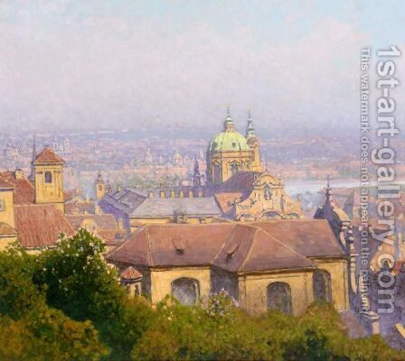 View Of Prague by Heinrich Tomec - Reproduction Oil Painting
