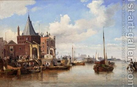 Amsterdam Harbour By The Rokin by Carl Frederik Sorensen - Reproduction Oil Painting