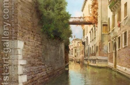 Venetian Canal Scene by Alberto Prosdocini - Reproduction Oil Painting