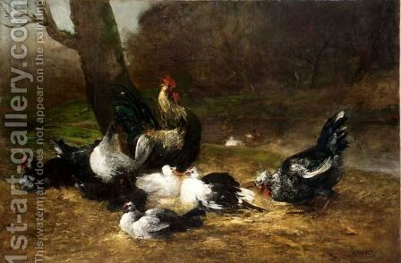 Chickens And Ducks Feeding by Antoine Vollon - Reproduction Oil Painting