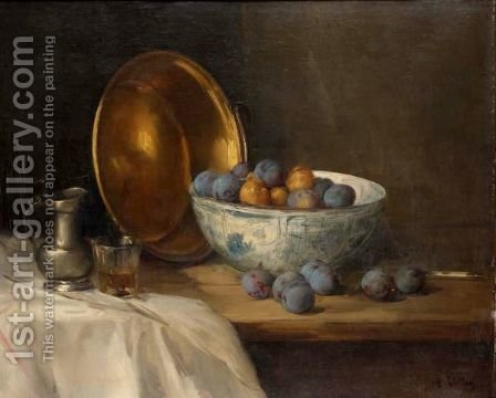 Still Life Of Plums With A Pewter Jug And Glass by Antoine Vollon - Reproduction Oil Painting