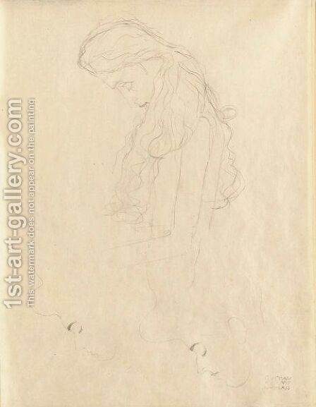 Frauenkopf Im Profil (Profile Of A Woman) by Gustav Klimt - Reproduction Oil Painting