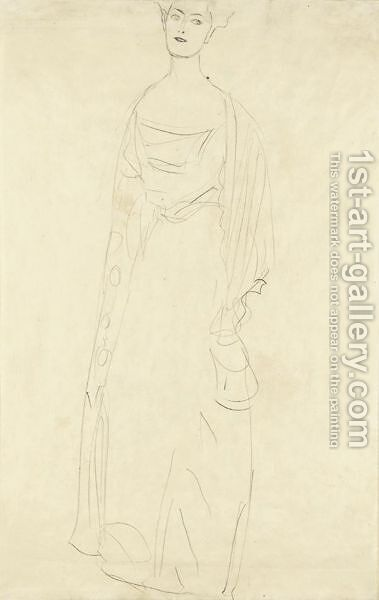Stehend Etwas Nach Links (Bildnis Margaret Stonborough-Wittgenstein) Standing Turned To The Left (Portrait Of Margaret Stonborough-Wittgenstein) by Gustav Klimt - Reproduction Oil Painting