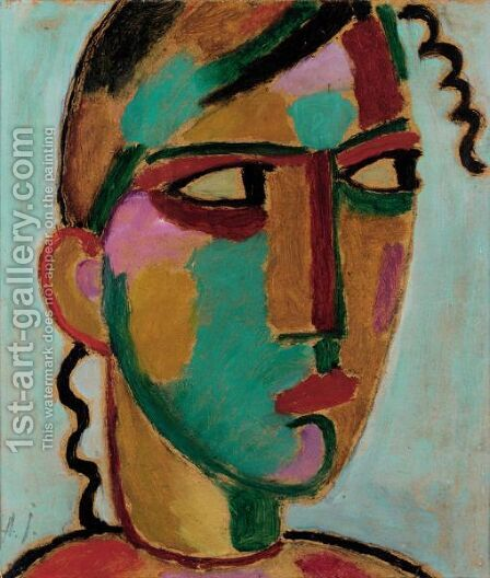 Mystischer Kopf Madchenkopf (Mystical Head Head Of A Girl) by Alexei Jawlensky - Reproduction Oil Painting