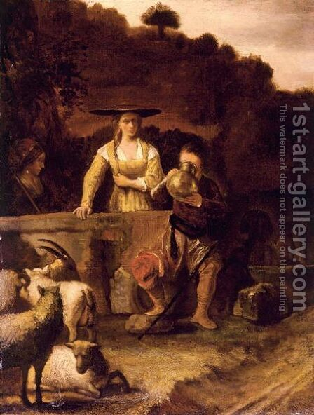 Rebecca And Eliezer At The Well by (after) Constantijn Van Renesse - Reproduction Oil Painting
