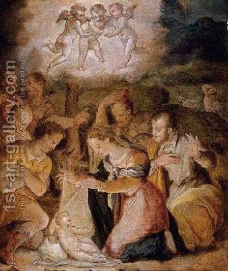 The Nativity With The Adoration Of The Shepherds by (after) Giorgio Vasari - Reproduction Oil Painting