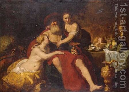 Lot And His Daughters by (after) Hendrick Bloemaert - Reproduction Oil Painting