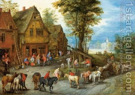 A Village Street With The Holy Family Arriving At An Inn by Jan, the Younger Brueghel - Reproduction Oil Painting