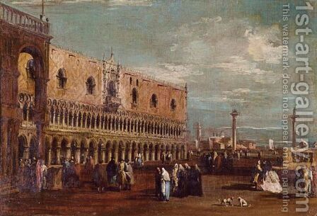 Venice, A View Of The Piazzetta Looking South With The Palazzo Ducale by (after) Francesco Guardi - Reproduction Oil Painting
