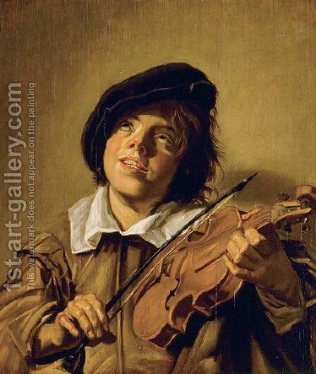Boy Playing A Violin by (after) Frans Hals - Reproduction Oil Painting