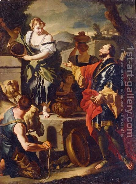 Rebecca And Eliezer At The Well by (after) Francesco Solimena - Reproduction Oil Painting
