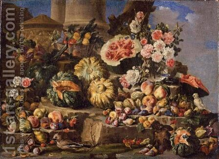 Still Life Of Fruit And Flowers On A Stone Ledge With Birds And A Monkey by (after) Michele Pace Del (Michelangelo Di) Campidoglio - Reproduction Oil Painting