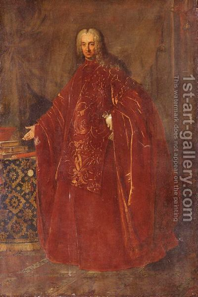 Portrait Of A Venetian Senator, Full Length, Standing By A Table by (after) Nazario Nazzari - Reproduction Oil Painting