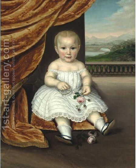 A Portrait Of A Baby In White Eyelet Dress Holding Rose Blossoms And A Circlet by American School - Reproduction Oil Painting