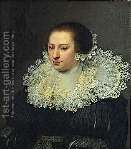 Portrait Of A Lady With Lace Collar And Cap by (after) Anthony Van Ravesteyn - Reproduction Oil Painting