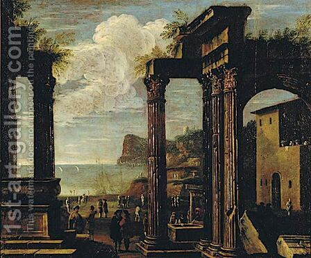 Architectural Capriccio With Figures by (after) Viviano Codazzi - Reproduction Oil Painting