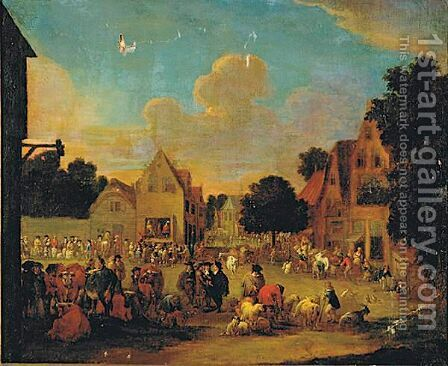 View Of A Market by (after) Pieter Bout - Reproduction Oil Painting