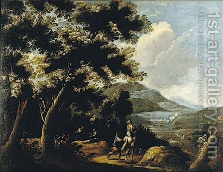 Travelers In An Extensive Landscape A Pair Of Paintings by (after) Pandolfo Reschi - Reproduction Oil Painting