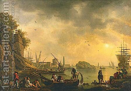 Harbor With Fishing Boats by (after) Charles Francois Lacroix De Marseille - Reproduction Oil Painting