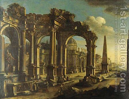 Architectural Capriccio With Figures By A Port by (after) Leonardo Coccorante - Reproduction Oil Painting