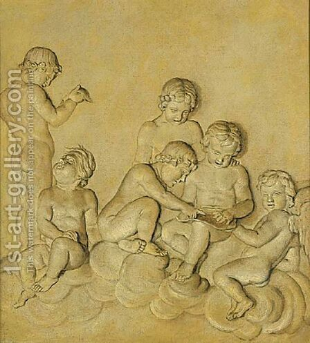 Putti At Play by (after) Piat Joseph Sauvage - Reproduction Oil Painting