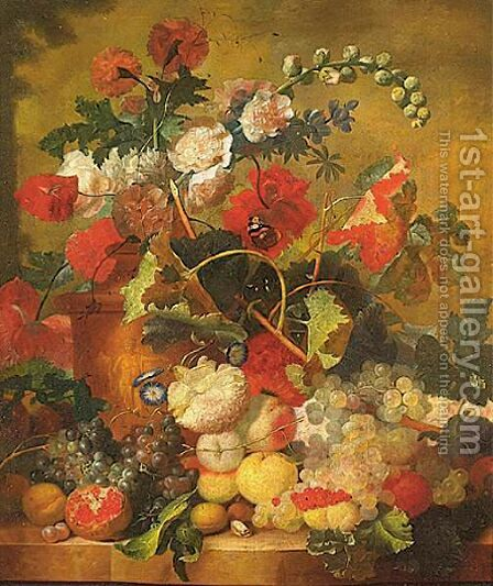 Sill Life Of Various Flowers In A Terracotta Vase by (after) Jan Van Os - Reproduction Oil Painting