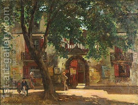 Summer Afternoon In A French Village by Gustave Colin - Reproduction Oil Painting