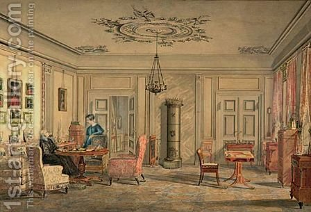 Interior In The House Of Lord Chamberlain O'Neill, Strandraede, Copenhagen by Christian Olavius Zeuthen - Reproduction Oil Painting
