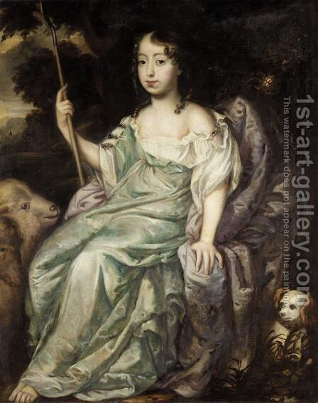 Portrait Of A Girl Holding An Houette, Sheep And A Small Dog Beside by (after) Sir Peter Lely - Reproduction Oil Painting