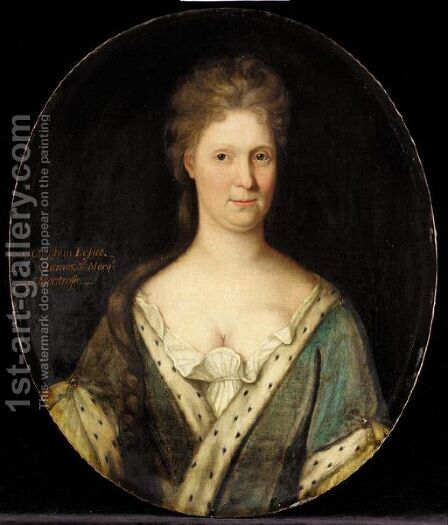 Portrait Of Christian Leslie, Wife Of James, 3rd Marquis Of Montrose by (after) Sir John Baptist De Medina - Reproduction Oil Painting