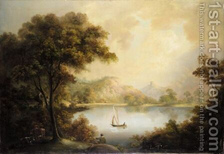 River Landscape by (after) Alexander Nasmyth - Reproduction Oil Painting