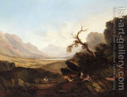 Drovers Resting On A Mountainous Landscape by (after) Joseph Rhodes - Reproduction Oil Painting