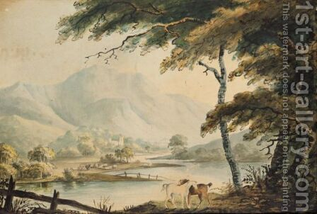 River Landscape by (after) William Payne - Reproduction Oil Painting