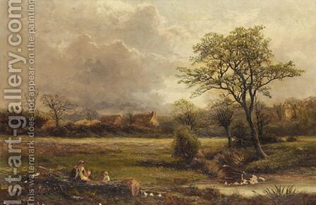 Landscape With Figures By A Stream by (after) George Turner - Reproduction Oil Painting