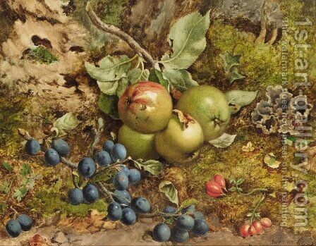 Still Life With Apples And Plums by (after) John William Hill - Reproduction Oil Painting