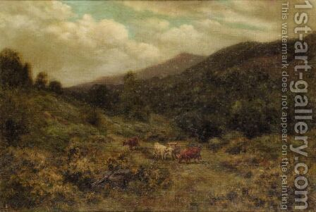 Cattle Grazing by (after) Benjamin Williams Leader - Reproduction Oil Painting