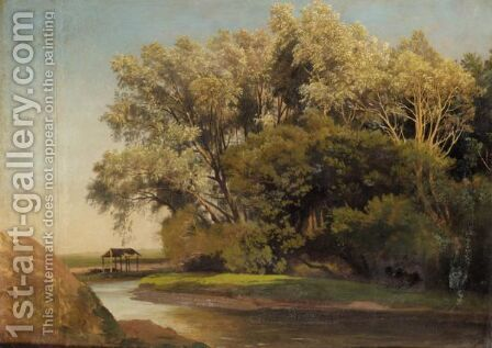River Landscape by (after) Johann Wilhelm Schirmer - Reproduction Oil Painting