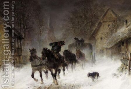 The Snow Storm by Hermann Kauffmann - Reproduction Oil Painting