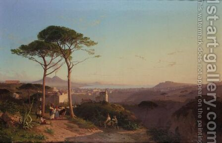 View Over The Bay Of Naples Towards Vesuvius by Alessandro la Volpe - Reproduction Oil Painting