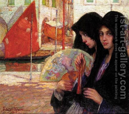 Girls In Venice by Hector Nava - Reproduction Oil Painting