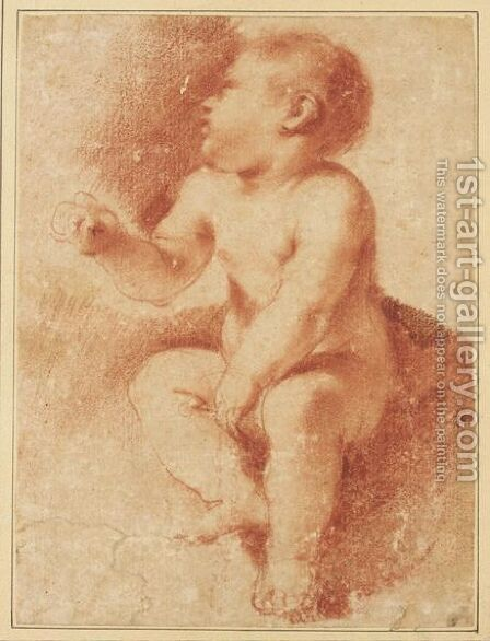 Study For The Christ Child, Seated And Looking To The Left by Giovanni Francesco Guercino (BARBIERI) - Reproduction Oil Painting