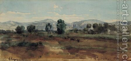 View Of Paestum by Henri-Joseph Harpignies - Reproduction Oil Painting